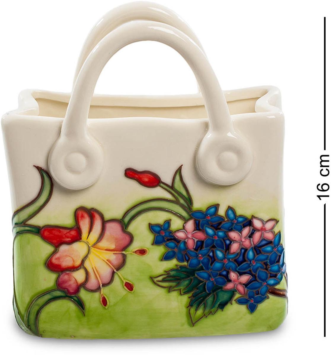 Ваза-кашпо Pavone Сумочка. JP-800/28JP-800/28Ваза-кашпо Сумочка (Pavone) Ну почему бы не подарить сумочку, полную цветов! Корзины же с цветами дарят. Вот эта сумочка – не для выхода в свет, ее назначение – только цветы. Эта фарфоровая емкость представляет собой вазу для цветов, в которую можно налить воды и заполнить пространство целой охапкой цветов. Но даже если в вазу ничего не поставлено, она сама напоминает клумбу с цветами – по ее поверхности на бледно-зеленом травяном фоне расположены разнообразные цветы, мелкие и крупные, с листьями и веточками. Над ними птички порхают – настоящий летний пейзаж, о котором приятно будет подумать суровой зимой. Подарите вечное лето – что может быть лучше!