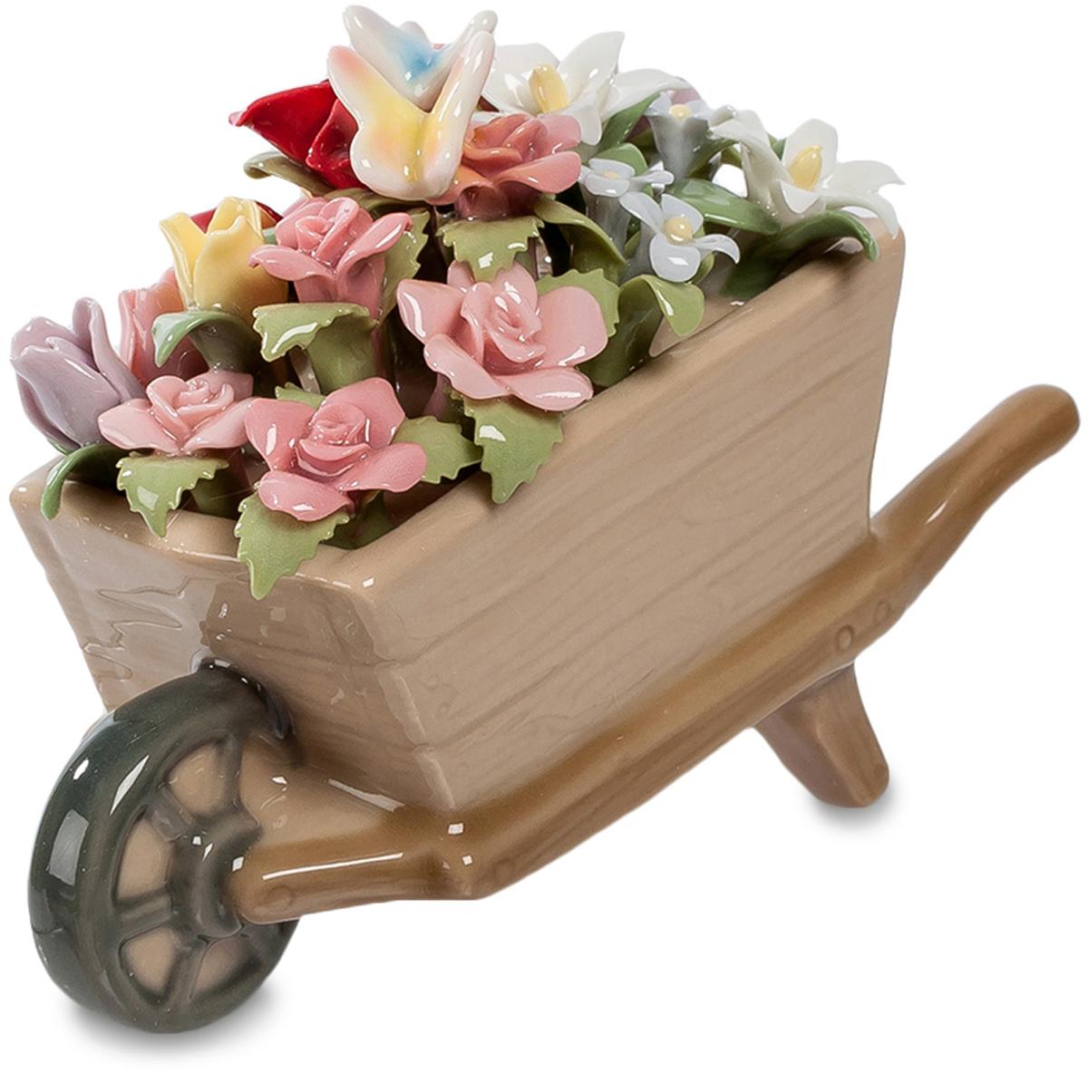 Композиция Pavone Тележка. Весенние цветы. CMS-33/43CMS-33/43Композиция тележка Весенние цветы (Pavone) Подарить букетик цветов – это, конечно, хорошо. Но не всегда хочется поступать так скромно: думая о легендарном миллионе алых роз, хочется собрать столько цветов, чтобы они даже в руках не поместились. И привезти их в тележке – все, какие удастся найти в саду! Вот она, эта тележка с цветами, деревянная, доверху наполненная цветами. Примечательно не только количество цветов, но и их материал: они выполнены из тончайшего фарфора, так что сразу им не понять, что это – не живая природа. Зато такая корзинка цветов будет стоять долго, цветы в ней не завянут, и каждое утро будут напоминать о том, кто их подарил – целую, хоть и маленькую, тележку.