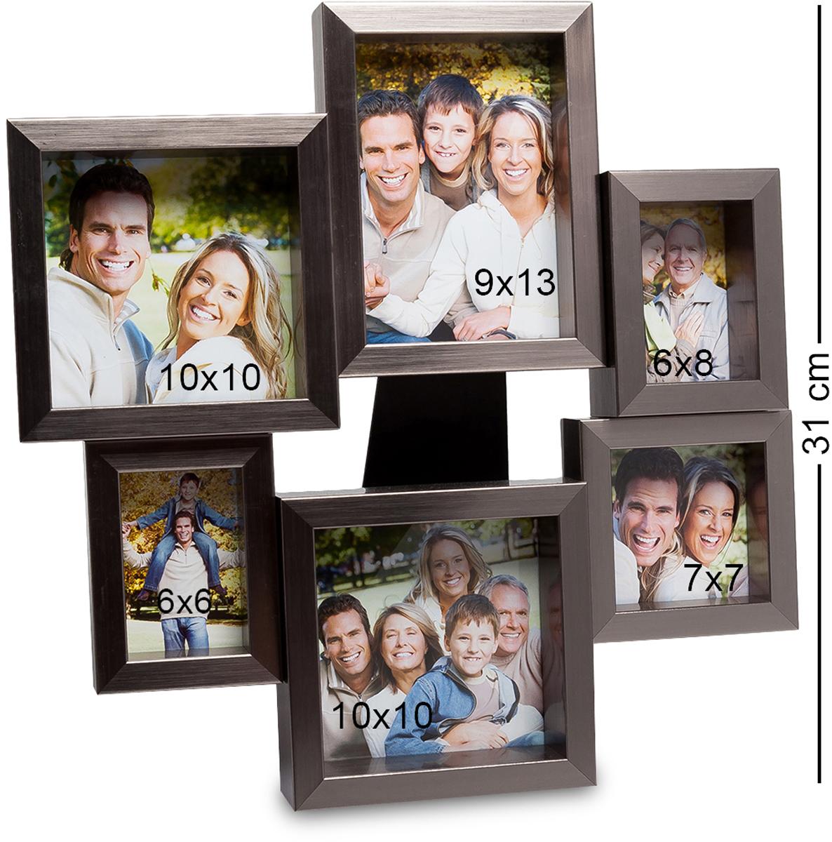 Панно из фоторамок Bellezza Casa Семейная история, на 6 фото: 9х13, 6х8, 7х7, 10х10. CHK-135CHK-135Панно из фоторамок на 6 фото для фотографий 5х8, 9х13, 10х10 и 9х9 см. Фоторамка настенная украсит ваши комнаты красивыми фотографиями. Она необычная, неординарная, рамочки расположены, как бы по кругу и отличаются своим размером. То есть вы сможете вложить в них не только фото одного размера, но и разные. Это могут быть как фото любимого мужа и жены, драгоценных детишек и других членов семьи. На настенной фторамке Семейная история места хватит всем. Она не просто оригинальна, но и красива. И, что в ней привлекает, кроме всего прочего, так это ее цвет. Изысканный, дорогой цвет металла делает и саму рамку дорогой и роскошной.
