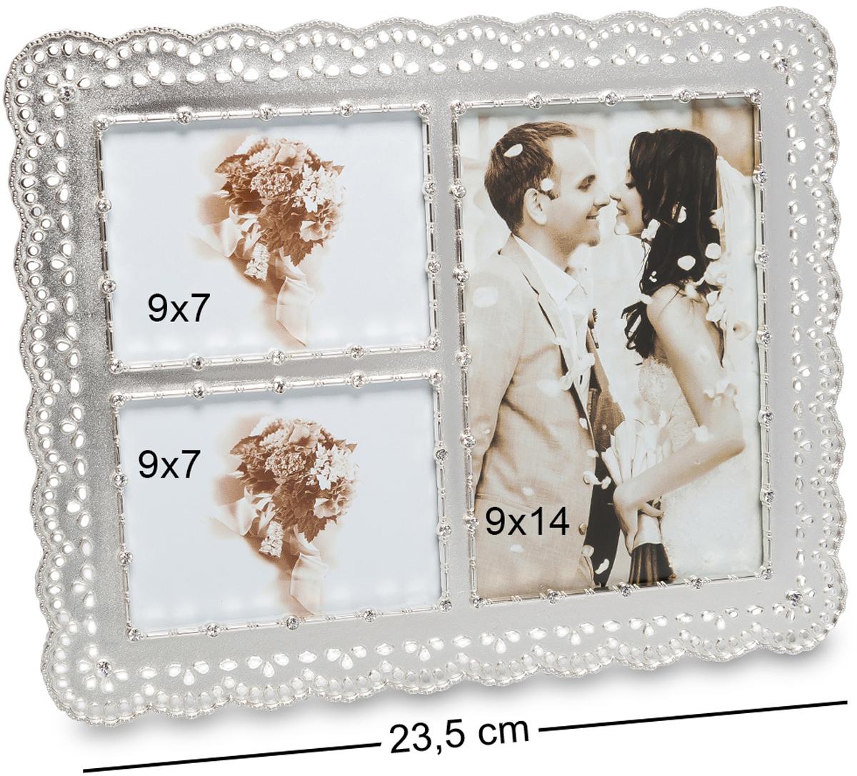 Фоторамка Bellezza Casa Искры любви, на 3 фото: 9х14, 9х7. CHK-189CHK-189Фоторамка на 3 фото для фотографий 9х14 и 9х7 см. Само название этой фоторамки говорит о том, что она предназначена для любовных снимков, на которых запечатлены самые яркие моменты ваших отношений. Например, в первой ячейке может быть первый подаренный букет цветов, или снимок, сделанный на первом свидании. Во вторую ячейку можно поместить свадебную фотографию, а в третью - фотографию с вашим первенцем. Порядок, да и сами снимки могут быть любыми, ведь главное не это. Главное - это то, что самые теплые воспоминания всегда будут с вами, пока в фоторамке Искры любви стоят памятные фото.