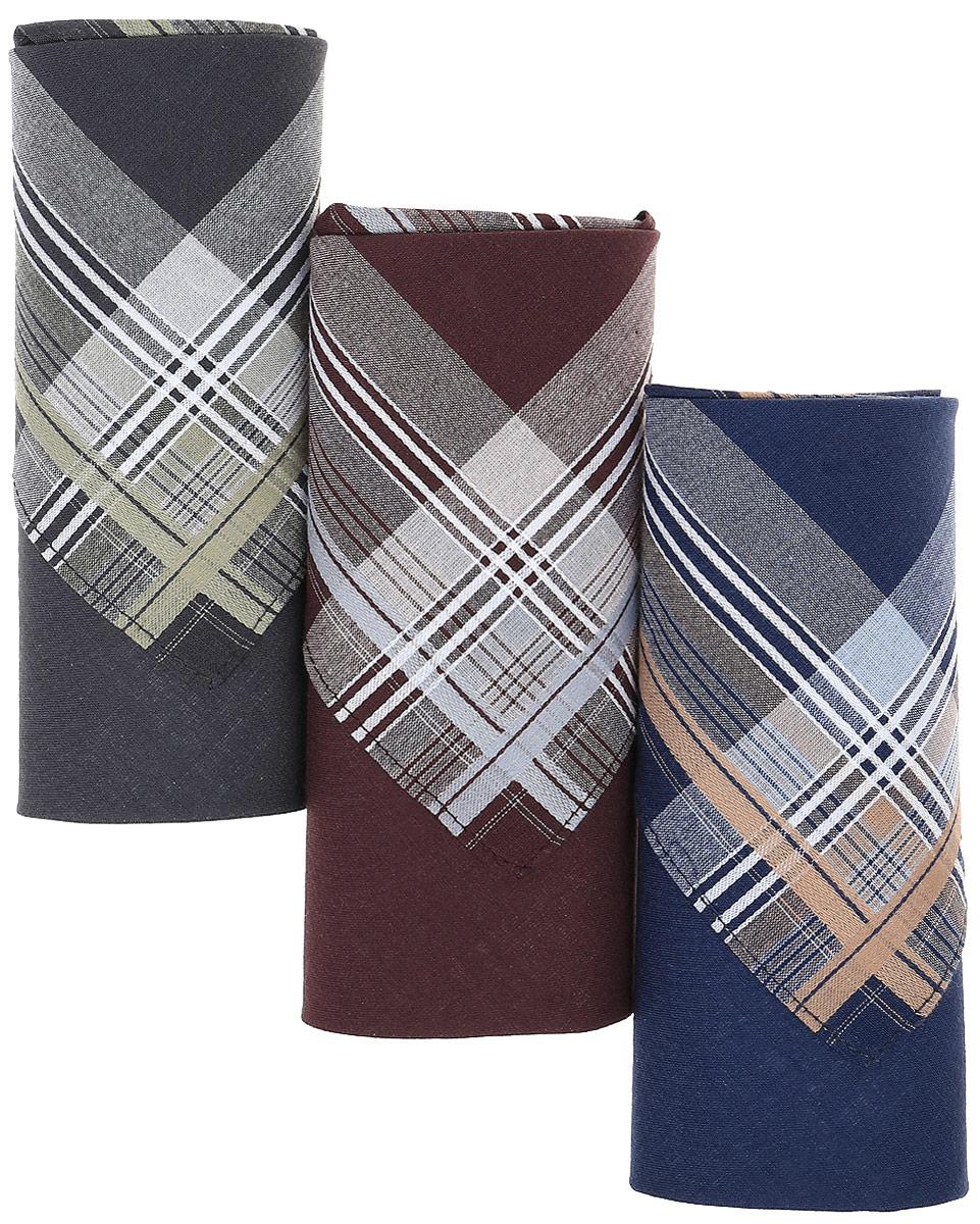 Платок носовой мужской Zlata Korunka, цвет: темно-синий, антрацит, каштановый, 3 шт. М55В. Размер 43 х 43 см39864 Серьги с подвескамиМужские носовые платки Zlata Korunka изготовлены из натурального хлопка, приятны в использовании, хорошо стираются, материал не садится и отлично впитывает влагу.В упаковке 3 штуки.