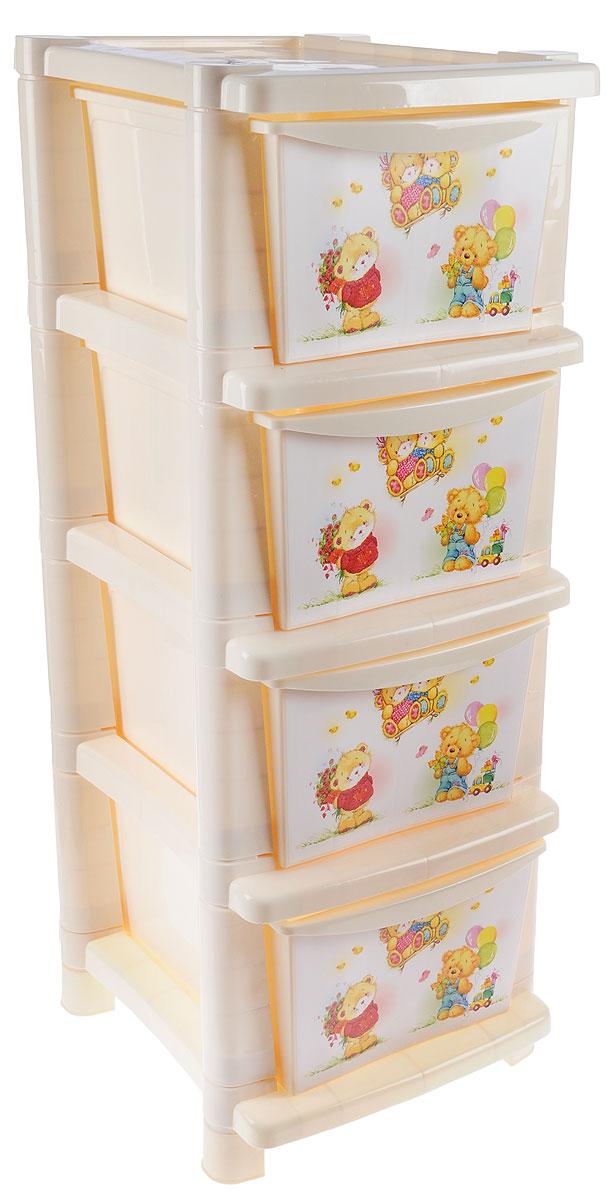 Little Angel Детский комод Мишки с цветами 4 ящика