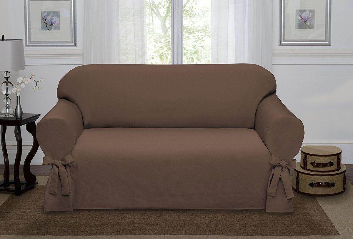 Чехол на диван Медежда Брайтон, трехместный, цвет: шоколадный1403011211000Чехол на трехместный диван «Брайтон» легко гармонирует почти со всеми палитрами цвета и любым типом интерьера. Классический чехол из хлопка, не эластичен, но хорошо принимает форму дивана, идеально подходит для диванов с шириной спинки от 185 до 235 см.