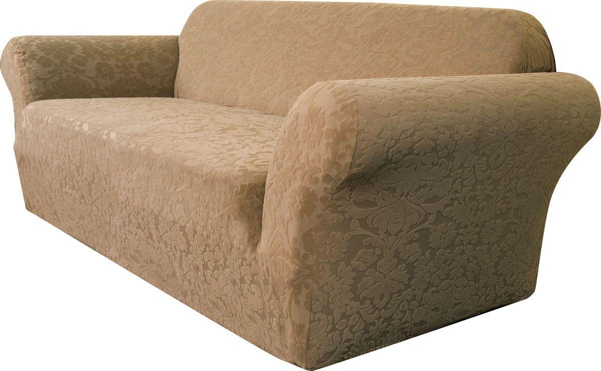 Чехол на трехместный диван Медежда Челтон, цвет: бежевый54 009303Универсальный чехол на трехместный диван Медежда Челтон изготовлен из стрейчевого жаккарда. Элегантный выпуклый рисунок прекрасно подходит к интерьеру, как в классическом, так и в современном стиле. Тактильное наслаждение, вызываемое тканью, сочетается с эластичностью. Чехол позволяет красиво облегать формы мебели и выглядеть как дорогая обивка, выполненная на заказ. Чехол подходит для стандартных двухместных диванов с шириной спинки от 185 см до 235 см.