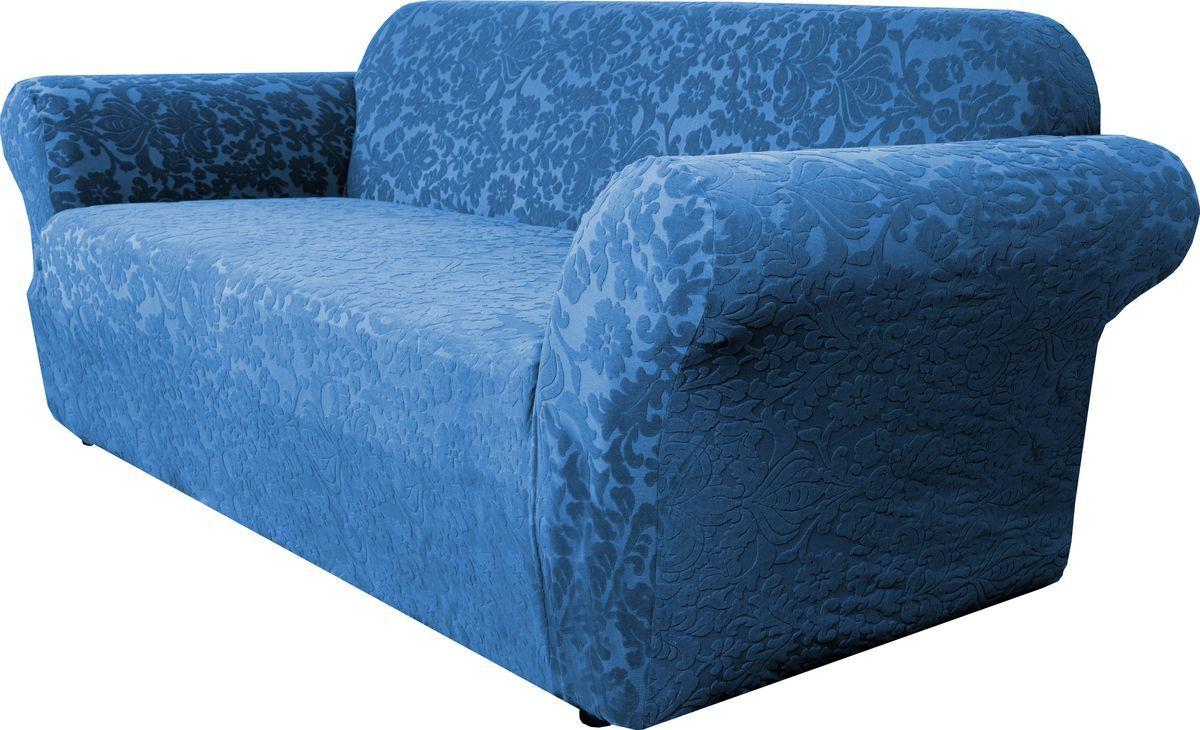 Чехол на диван Медежда Челтон, трехместный, цвет: морской волны1403051104000Универсальный чехол на диван изготовлен из стрейчевого жаккарда. Элегантный выпуклый рисунок прекрасно подходит к интерьеру как в классическом, так и в современном стиле. Тактильное наслаждение, вызываемое тканью, сочетается с эластичностью. Чехол красиво облегает формы мебели и выглядит как дорогая обивка, выполненная на заказ. Чехол подходит для большинства стандартных диванов