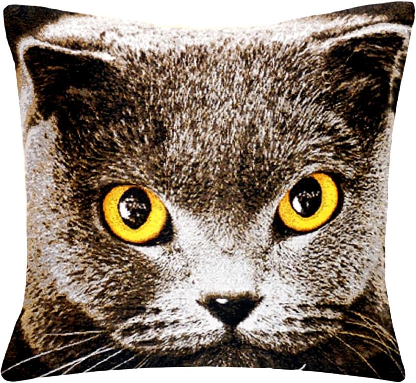 Подушка декоративная Рапира Британская кошка, 45 х 45 см96515412Декоративная подушка с наполнителем холлофайбер со съёмным чехлом на молнии, выполненным из жаккарда, - это яркий штрих в интерьере комнаты. Лицевая сторона - гобелен (жаккардовое ткачество), оборотная сторона -однотонная ткань типа плюш.