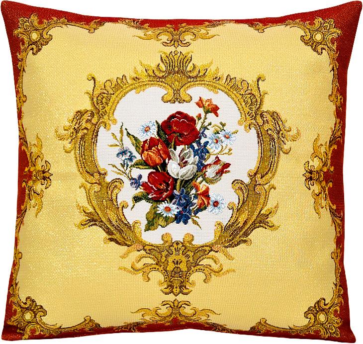 Подушка декоративная Рапира Барокко, 45 х 45 см4618Декоративная подушка с наполнителем холлофайбер со съёмным чехлом на молнии, выполненным из жаккарда, - это яркий штрих в интерьере комнаты. Лицевая сторона - гобелен (жаккардовое ткачество), оборотная сторона - однотонная ткань типа плюш.