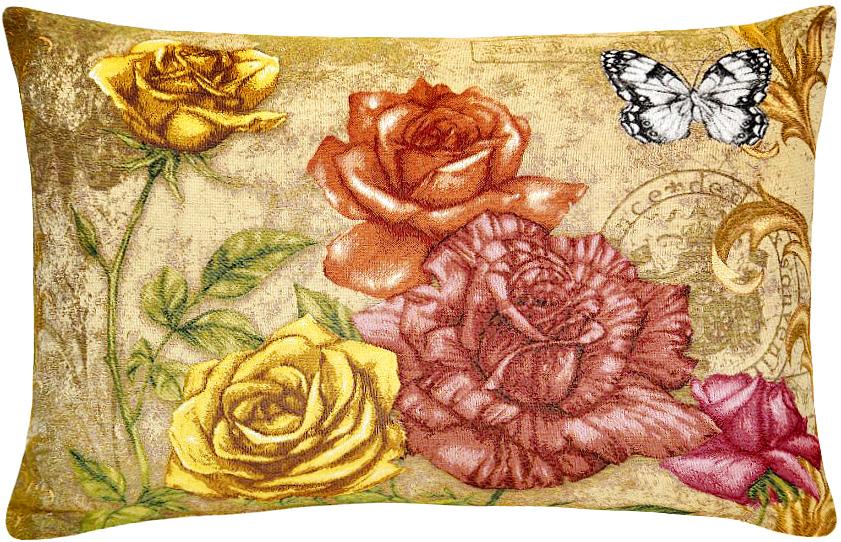 Подушка декоративная Рапира Благоухание. Розы, 50 х 70 см4895Декоративная подушка с наполнителем холлофайбер со съёмным чехлом на молнии, выполненным из жаккарда, - это яркий штрих в интерьере комнаты. Лицевая сторона - гобелен (жаккардовое ткачество), оборотная сторона - однотонная ткань типа плюш.