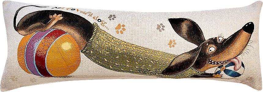 Подушка декоративная Рапира Баловни. Такса. Мячики, 35 х 90 см4981Декоративная подушка с наполнителем холлофайбер со съёмным чехлом на молнии, выполненным из жаккарда, - это яркий штрих в интерьере комнаты. Лицевая сторона - гобелен (жаккардовое ткачество), оборотная сторона - однотонная ткань типа плюш.