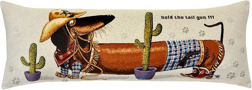 Подушка декоративная Рапира Баловни. Такса-ковбой, 35 х 90 смPR-2WДекоративная гобеленовая подушка со съёмным чехлом на молнии хлопок с полиэфиром.Лицевая сторона гобелен(жаккардовое ткачество),оборотная сторона однотонная ткань типа плюш.
