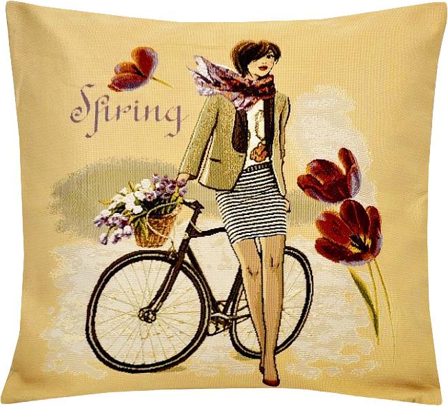 Подушка декоративная Рапира Леди весна, 45 х 45 см5193Декоративная подушка с наполнителем холлофайбер со съёмным чехлом на молнии, выполненным из жаккарда, - это яркий штрих в интерьере комнаты. Лицевая сторона - гобелен (жаккардовое ткачество), оборотная сторона - однотонная ткань типа плюш.