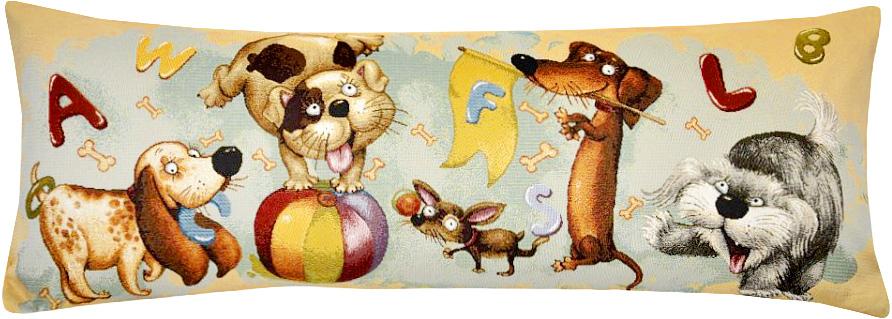 Подушка декоративная Рапира Азбука. Собачки, 35 х 90 см5223Декоративная подушка с наполнителем холлофайбер со съёмным чехлом на молнии, выполненным из жаккарда, - это яркий штрих в интерьере комнаты. Лицевая сторона - гобелен (жаккардовое ткачество), оборотная сторона - однотонная ткань типа плюш.