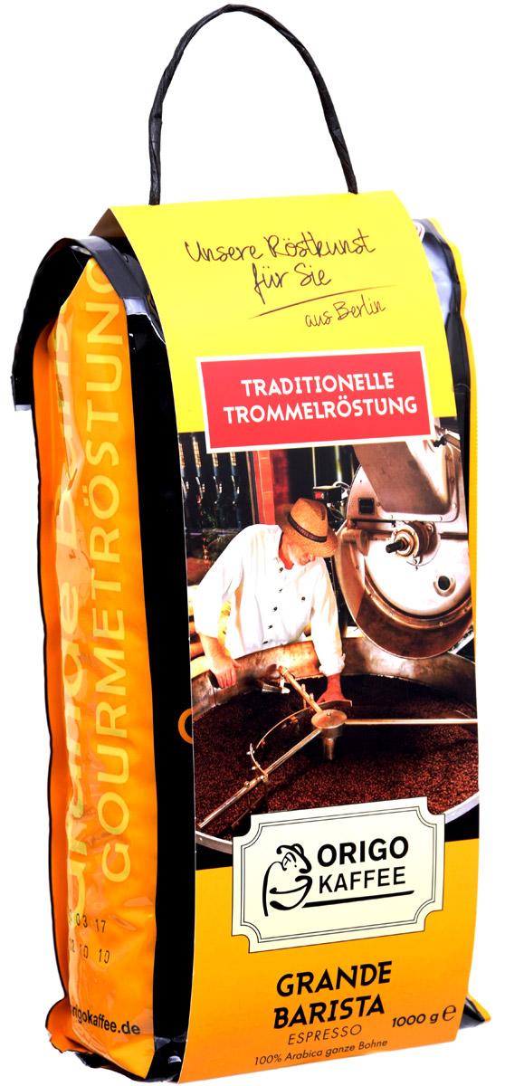 ORIGO Grande Barista Espresso кофе в зернах, 1 кг0120710Мягкий сбалансированный кофе, без наличия дефектов во вкусе. Характерные для 100% Арабики кислые ноты приятно сочетаются с благородной легкой горечью и придают приятное послевкусие. Чувствуются шоколад, какао и легкий аромат кожи и специй.