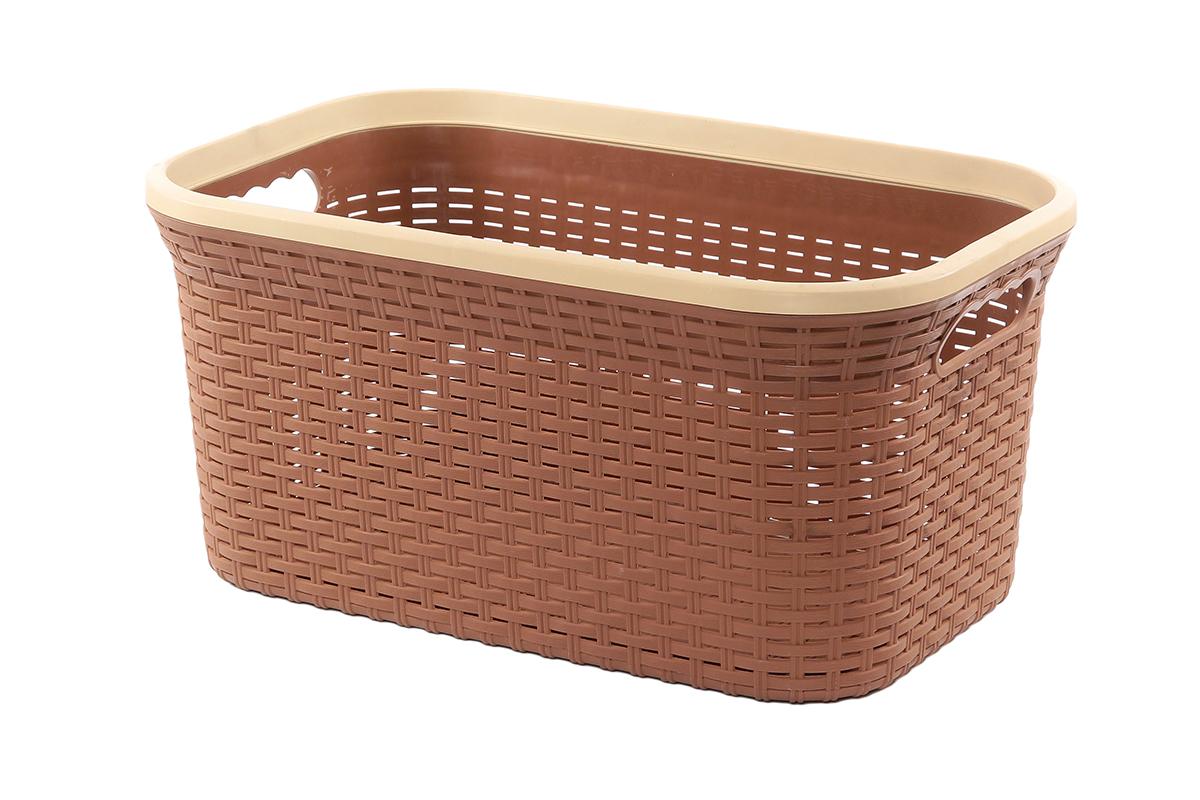 Корзина для хранения Violet Ротанг, цвет: коричневый, 50 х 33 х 25 см531-401Прямоугольная корзина Violet Ротанг, изготовленная из полипропилена, имитирующая плетение ротанг, предназначена для хранения мелочей в ванной, на кухне, даче или гараже. Позволяет хранить мелкие вещи, исключая возможность их потери. Это легкая корзина со сплошным дном, жесткой кромкой, с небольшими отверстиями на стенках.