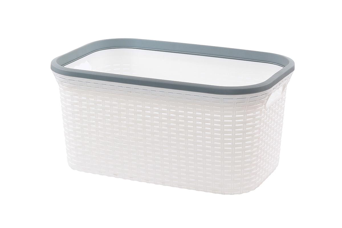 Корзина для хранения Violet Ротанг, цвет: белый, 50 х 33 х 25 см531-401Прямоугольная корзина Violet Ротанг, изготовленная из полипропилена, имитирующая плетение ротанг, предназначена для хранения мелочей в ванной, на кухне, даче или гараже. Позволяет хранить мелкие вещи, исключая возможность их потери. Это легкая корзина со сплошным дном, жесткой кромкой, с небольшими отверстиями на стенках.