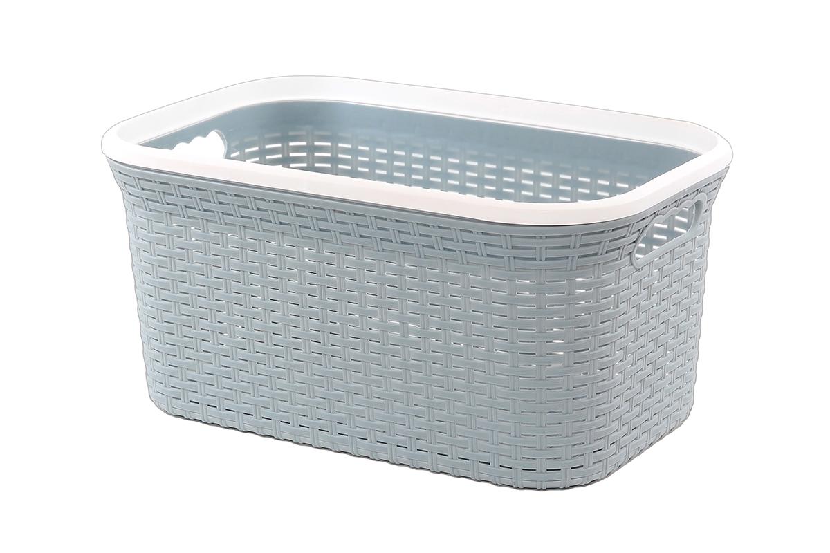 Корзина для хранения Violet Ротанг, цвет: серый, 54 х 35 х 26 см810564Прямоугольная корзина Violet Ротанг, изготовленная из полипропилена, имитирующая плетение ротанг, предназначена для хранения мелочей в ванной, на кухне, даче или гараже. Позволяет хранить мелкие вещи, исключая возможность их потери. Это легкая корзина со сплошным дном, жесткой кромкой, с небольшими отверстиями на стенках.