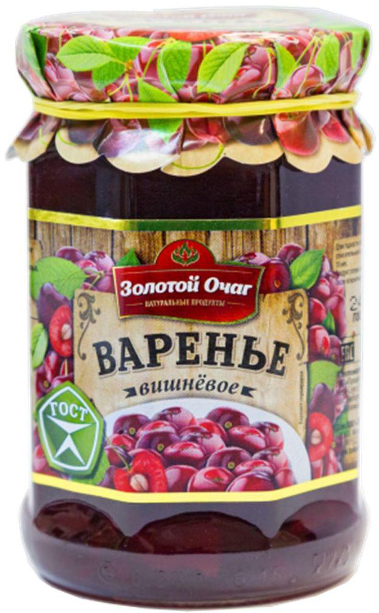 Золотой Очаг варенье вишневое, 380 г4607816071093Вишневое варенье – один из самых полезных и вкусных десертов. Зимой этот чудесный продукт напомнит о жарком лете, волнующем аромате ягод, фруктов и цветов, а также разнообразит семейное чаепитие. Бордовые ягодки в густом сиропе винного цвета напоминают многим о беззаботном детстве, когда бабушки или мамы варили варенье, а снятую пенку отдавали на съедение своим чадам.