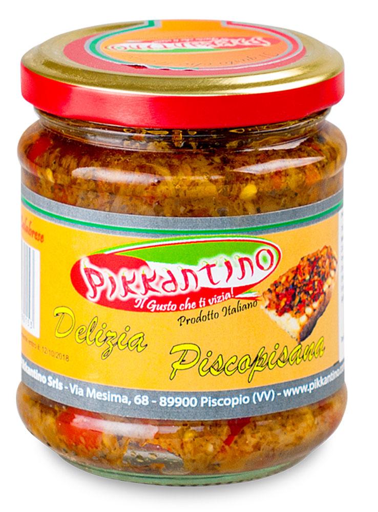 Pikkantino жареные овощи в масле делиция пископизана, 212 млPKTN007Итальянская вариация на тему рубленых и обжаренных на оливковом масле овощей. Особо нежный вкус. Итальянские овощи, сдобренные оливковым маслом и прованскими травами - прекрасная закуска или гарнир к мясу и рыбе.