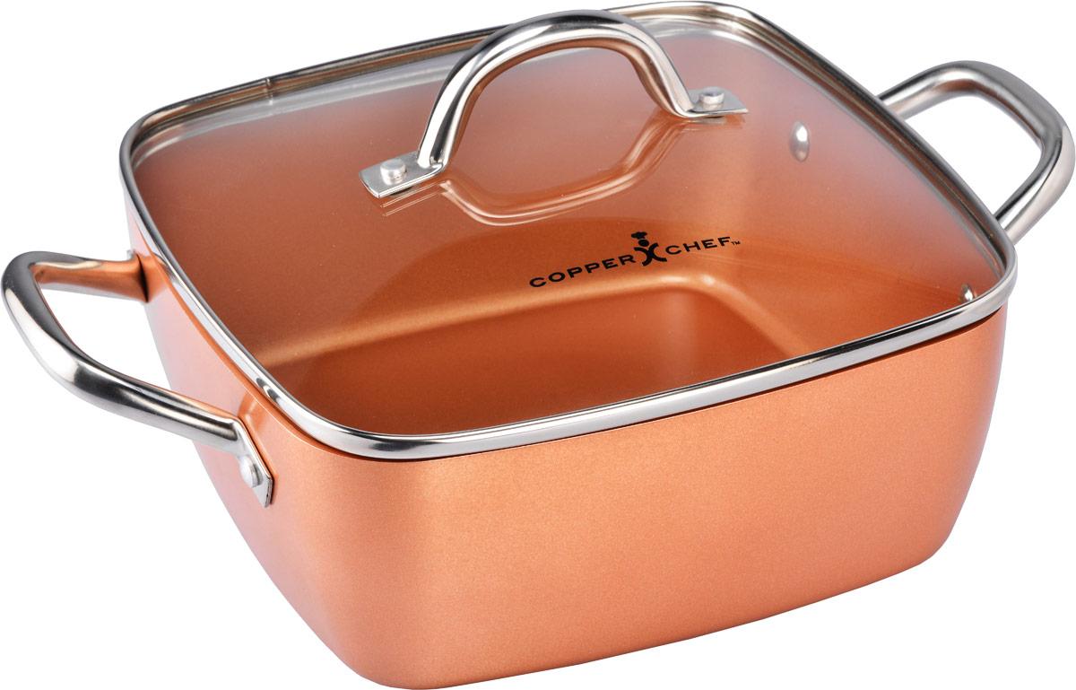 Кастрюля Copper Chef с крышкой, с керамическим покрытием, квадратная, 4,96 лKC15060-02000Квадратная кастрюля Copper Chef изготовлена из высококачественного алюминия с антипригарным керамическим покрытием. Благодаря керамическому покрытию пища не пригорает и не прилипает к поверхности кастрюли, что позволяет готовить с минимальным количеством масла. Кроме того, такое покрытие абсолютно безопасно для здоровья человека. Достоинства керамического покрытия: - устойчивость к высоким температурам и резким перепадам температур; - устойчивость к царапающим кухонным принадлежностям и абразивным моющим средствам; - устойчивость к коррозии; - водоотталкивающий эффект; - покрытие способствует испарению воды во время готовки; - длительный срок службы; - безопасность для окружающей среды и человека. Изделие оснащено ручками, выполненными из нержавеющей стали, и стеклянной крышкой с отверстием для выхода пара. Кастрюля подходит для использования на газовых электрических, ...