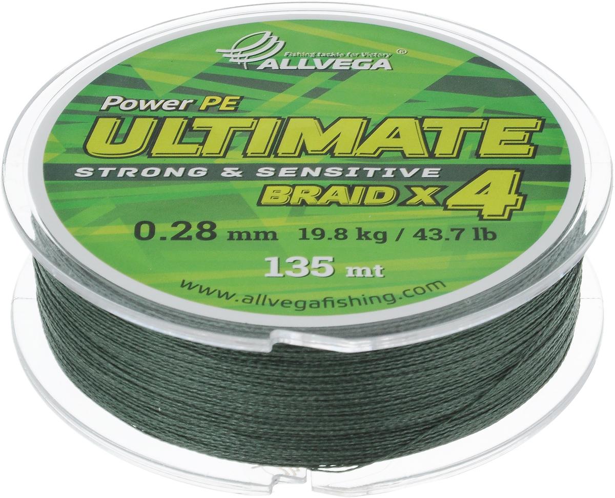 """Леска плетеная Allvega """"Ultimate"""", цвет: темно-зеленый, 135 м, 0,28 мм, 19,8 кг 59279"""