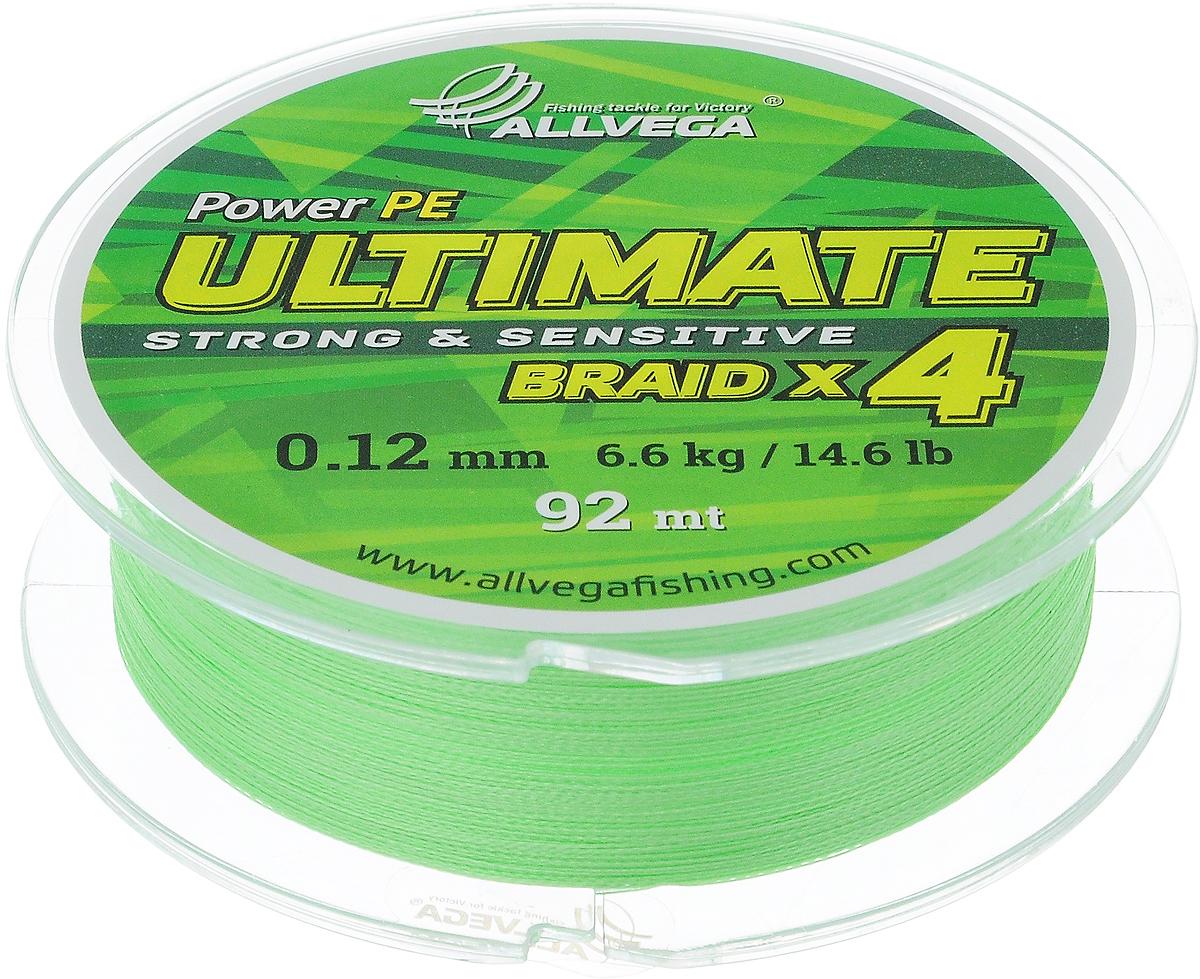 Леска плетеная Allvega Ultimate, цвет: светло-зеленый, 92 м, 0,12 мм, 6,6 кг10948Леска Allvega Ultimate с гладкой поверхностью и одинаковым сечением по всей длине обладает высокой износостойкостью. Леска изготовлена из высокотехнологичного материала (Power РЕ) методом плетения 4 прядей, покрытых специальным полимерным составом. Основными положительными качествами лески Allvega Ultimate являются: устойчивость к внешнему воздействию и максимальная чувствительность при поклевке, что обусловлено почти нулевой растяжимостью. Данные показатели крайне важны при ловле на бровках и в корягах. А круглая и гладкая поверхность лески обеспечивает ровную и плотную укладку на шпуле катушки, что позволяет делать дальний и точный заброс, делая леску универсальной для ловли любым видом спиннинга. Леску Allvega Ultimate можно применять в любых типах водоемов. Особенности:повышенная износостойкость;высокая чувствительность - коэффициент растяжения близок к нулю; идеально гладкая поверхность позволяет увеличить дальность забросов; высокая прочность шнура на узлах.