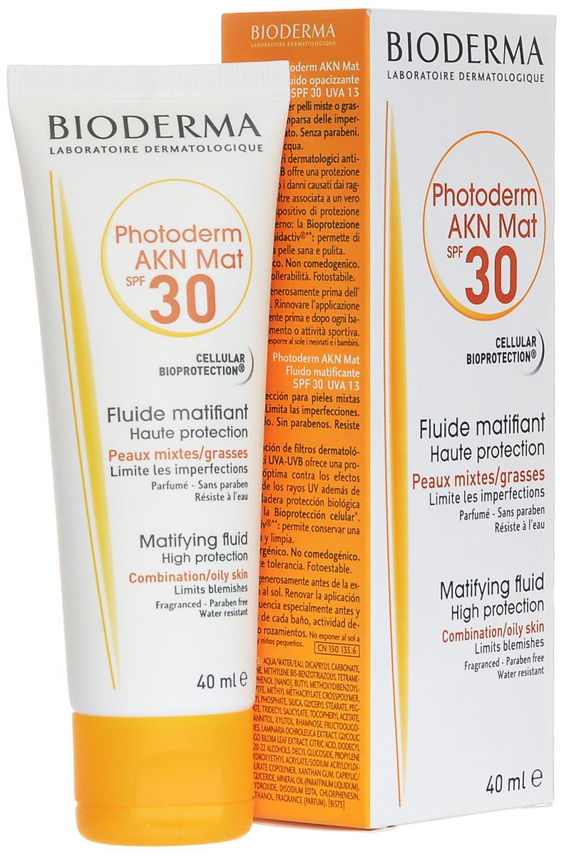 Bioderma Матирующая эмульсия Photoderm AKN, SPF 30, 40 млБ33041Защищает от UV. Предупреждает появление высыпаний. Предупреждает появление сального блеска. Можно использовать как увлажняющее средство.