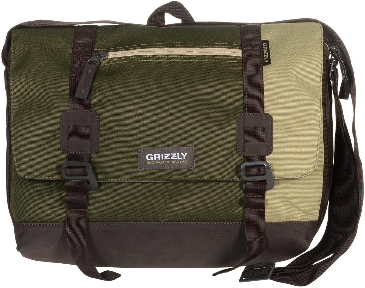 Сумка молодежная Grizzly, цвет: песочный, хаки, коричневый, 14 л. ММ-619-3/3ММ-619-3/3Молодежная сумка Grizzly изготовлена из высококачественного плотного текстиля. Дно уплотнено материалом из экокожи. Сумка имеет одно отделение, которое закрывается на клапан с застежками-крючками, регулируемыми по высоте, и застежку-молнию. Внутри сумки расположен карман для ноутбука или планшета, а также вшитый карман на застежке-молнии. Снаружи, с фронтальной стороны сумки есть один прорезной карман на застежке-молнии и два открытых кармашка. На клапане также располагается прорезной карман на застежке-молнии, и с тыльной стороны - боковой карман на застежке-молнии. Изделие оснащено дополнительной ручкой-петлей и регулируемым плечевым ремнем. Самовыражение - одна из базовых потребностей современного человека. Оригинальные, яркие, остромодные рюкзаки от Grizzly наилучшим образом подчеркнут вашу креативность, индивидуальность и неповторимый стиль!