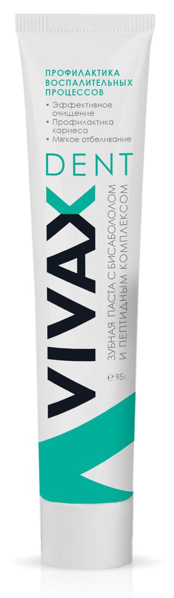 Vivax Паста зубная с пептидным комплексом и Бисабололом, 95 гр0415newДля ежедневного использования, в качестве профилактики заболеваний полости рта. • эффективно решает проблему профилактики кариеса, стимулирует местный иммунитет полости рта, препятствует образованию зубных отложений • эффективна для профилактики и в составе комплексного лечения всех форм гингвита, пародонтита и стоматита • мягко отбеливает зубы, снижая пигментацию эмали и сглаживая микротрещины эмали • обладает приятным вкусом и освежает дыхание Рекомендуется использовать в комплексе с бальзамом для полости рта с пептидным комплексом, неовитином и гелем «алоэ-вера»