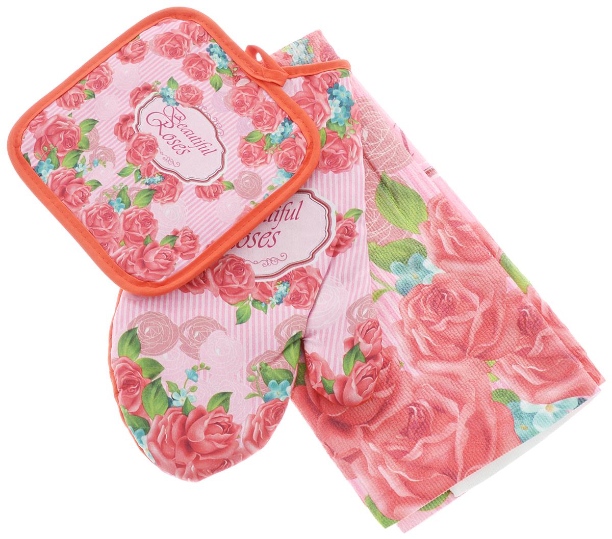 Комплект для кухни Soavita Роза, 3 предмета80611/XC FLS3Кухонный комплект Soavita Роза состоит из полотенца, прихватки и прихватки-варежки. Прихватка и прихватка-варежка изготовлены из 100% полиэстера, полотенце изготовлено из 80% полиэстера и 20% полиамида. Все изделия украшены ярким рисунком цветов. Комплект идеально дополнит интерьер вашей кухни и создаст атмосферу уюта и комфорта. Высочайшее качество материала гарантирует безопасность не только взрослых, но и самых маленьких членов семьи. Размер полотенца: 38 х 63 см. Размер прихватки: 17 х 17 см. Размер прихватки-варежки: 17 х 27 см.