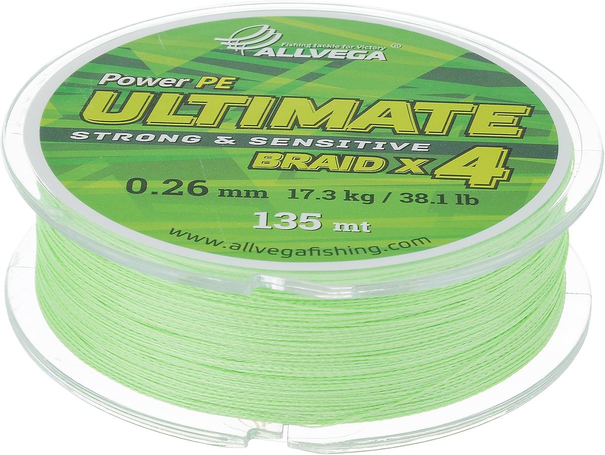 Леска плетеная Allvega Ultimate, цвет: салатовый, 135 м, 0,26 мм, 17,3 кг59289Леска Allvega Ultimate с гладкой поверхностью и одинаковым сечением по всей длине обладает высокой износостойкостью. Леска изготовлена из высокотехнологичного материала (Power РЕ) методом плетения 4 прядей, покрытых специальным полимерным составом. Основными положительными качествами лески Allvega Ultimate являются: устойчивость к внешнему воздействию и максимальная чувствительность при поклевке, что обусловлено почти нулевой растяжимостью. Данные показатели крайне важны при ловле на бровках и в корягах. А круглая и гладкая поверхность лески обеспечивает ровную и плотную укладку на шпуле катушки, что позволяет делать дальний и точный заброс, делая леску универсальной для ловли любым видом спиннинга. Леску Allvega Ultimate можно применять в любых типах водоемов. Особенности: повышенная износостойкость; высокая чувствительность - коэффициент растяжения близок к нулю; идеально гладкая поверхность позволяет увеличить дальность забросов; ...