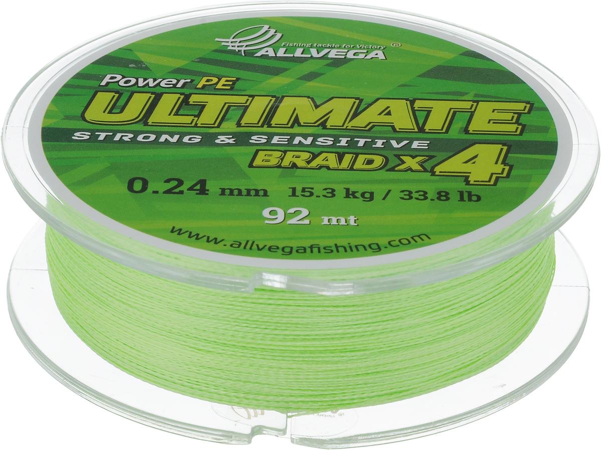 Леска плетеная Allvega Ultimate, цвет: светло-зеленый, 92 м, 0,24 мм, 15,3 кг59266Леска Allvega Ultimate с гладкой поверхностью и одинаковым сечением по всей длине обладает высокой износостойкостью. Леска изготовлена из высокотехнологичного материала (Power РЕ) методом плетения 4 прядей, покрытых специальным полимерным составом. Основными положительными качествами лески Allvega Ultimate являются: устойчивость к внешнему воздействию и максимальная чувствительность при поклевке, что обусловлено почти нулевой растяжимостью. Данные показатели крайне важны при ловле на бровках и в корягах. А круглая и гладкая поверхность лески обеспечивает ровную и плотную укладку на шпуле катушки, что позволяет делать дальний и точный заброс, делая леску универсальной для ловли любым видом спиннинга. Леску Allvega Ultimate можно применять в любых типах водоемов. Особенности: повышенная износостойкость; высокая чувствительность - коэффициент растяжения близок к нулю; идеально гладкая поверхность позволяет увеличить дальность забросов; ...