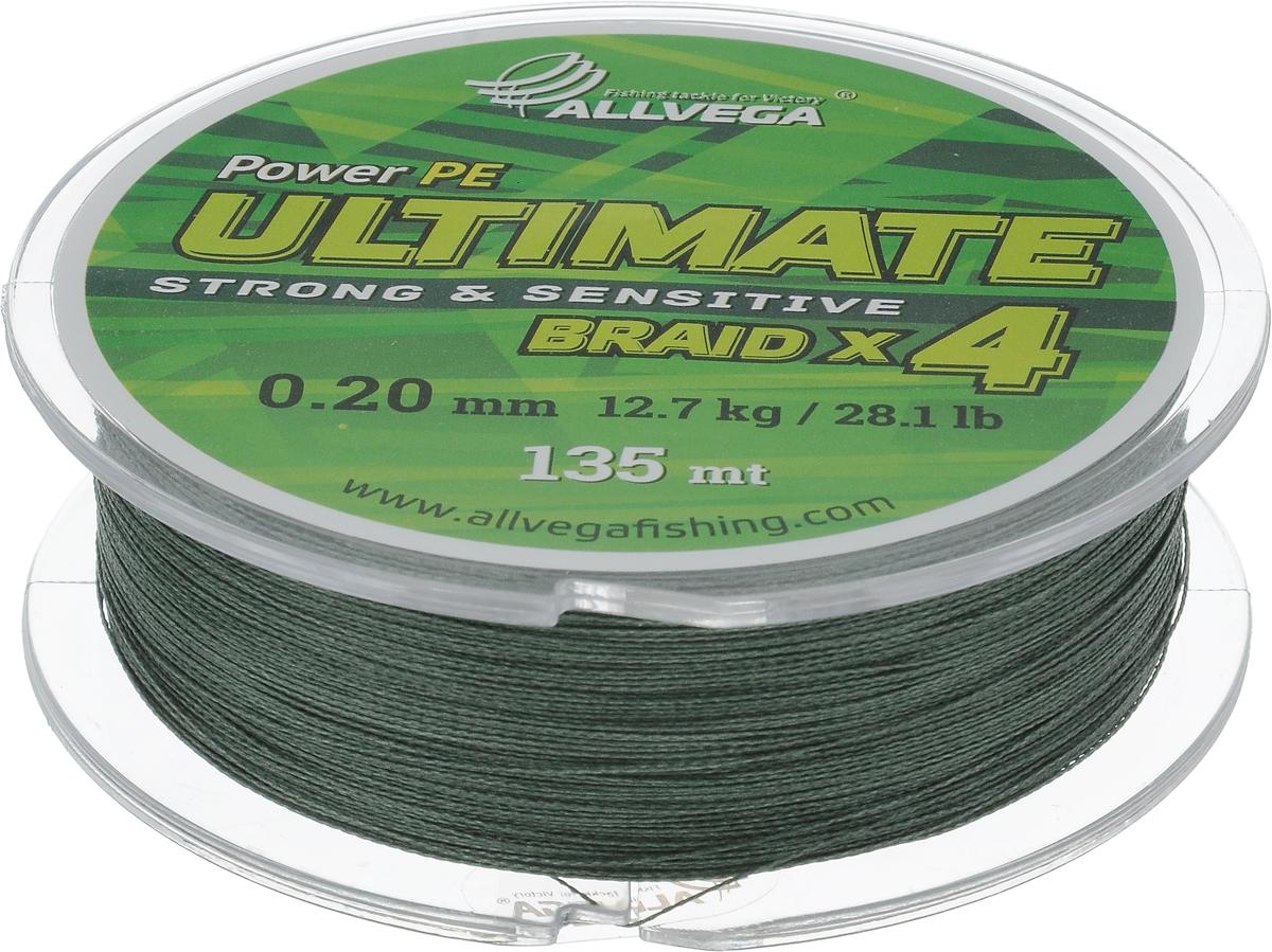 Леска плетеная Allvega Ultimate, цвет: темно-зеленый, 135 м, 0,20 мм, 12,7 кг59275Леска Allvega Ultimate с гладкой поверхностью и одинаковым сечением по всей длине обладает высокой износостойкостью. Леска изготовлена из высокотехнологичного материала (Power РЕ) методом плетения 4 прядей, покрытых специальным полимерным составом. Основными положительными качествами лески Allvega Ultimate являются: устойчивость к внешнему воздействию и максимальная чувствительность при поклевке, что обусловлено почти нулевой растяжимостью. Данные показатели крайне важны при ловле на бровках и в корягах. А круглая и гладкая поверхность лески обеспечивает ровную и плотную укладку на шпуле катушки, что позволяет делать дальний и точный заброс, делая леску универсальной для ловли любым видом спиннинга. Леску Allvega Ultimate можно применять в любых типах водоемов. Особенности: повышенная износостойкость; высокая чувствительность - коэффициент растяжения близок к нулю; идеально гладкая поверхность позволяет увеличить дальность забросов; ...