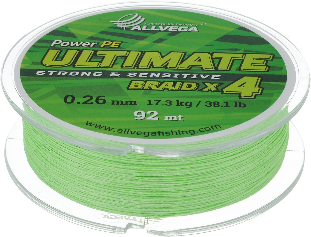 Леска плетеная Allvega Ultimate, цвет: светло-зеленый, 92 м, 0,26 мм, 17,3 кг06/4/07Леска Allvega Ultimate с гладкой поверхностью и одинаковым сечением по всей длине обладает высокой износостойкостью. Леска изготовлена из высокотехнологичного материала (Power РЕ) методом плетения 4 прядей, покрытых специальным полимерным составом. Основными положительными качествами лески Allvega Ultimate являются: устойчивость к внешнему воздействию и максимальная чувствительность при поклевке, что обусловлено почти нулевой растяжимостью. Данные показатели крайне важны при ловле на бровках и в корягах. А круглая и гладкая поверхность лески обеспечивает ровную и плотную укладку на шпуле катушки, что позволяет делать дальний и точный заброс, делая леску универсальной для ловли любым видом спиннинга. Леску Allvega Ultimate можно применять в любых типах водоемов. Особенности:повышенная износостойкость;высокая чувствительность - коэффициент растяжения близок к нулю; идеально гладкая поверхность позволяет увеличить дальность забросов; высокая прочность шнура на узлах.