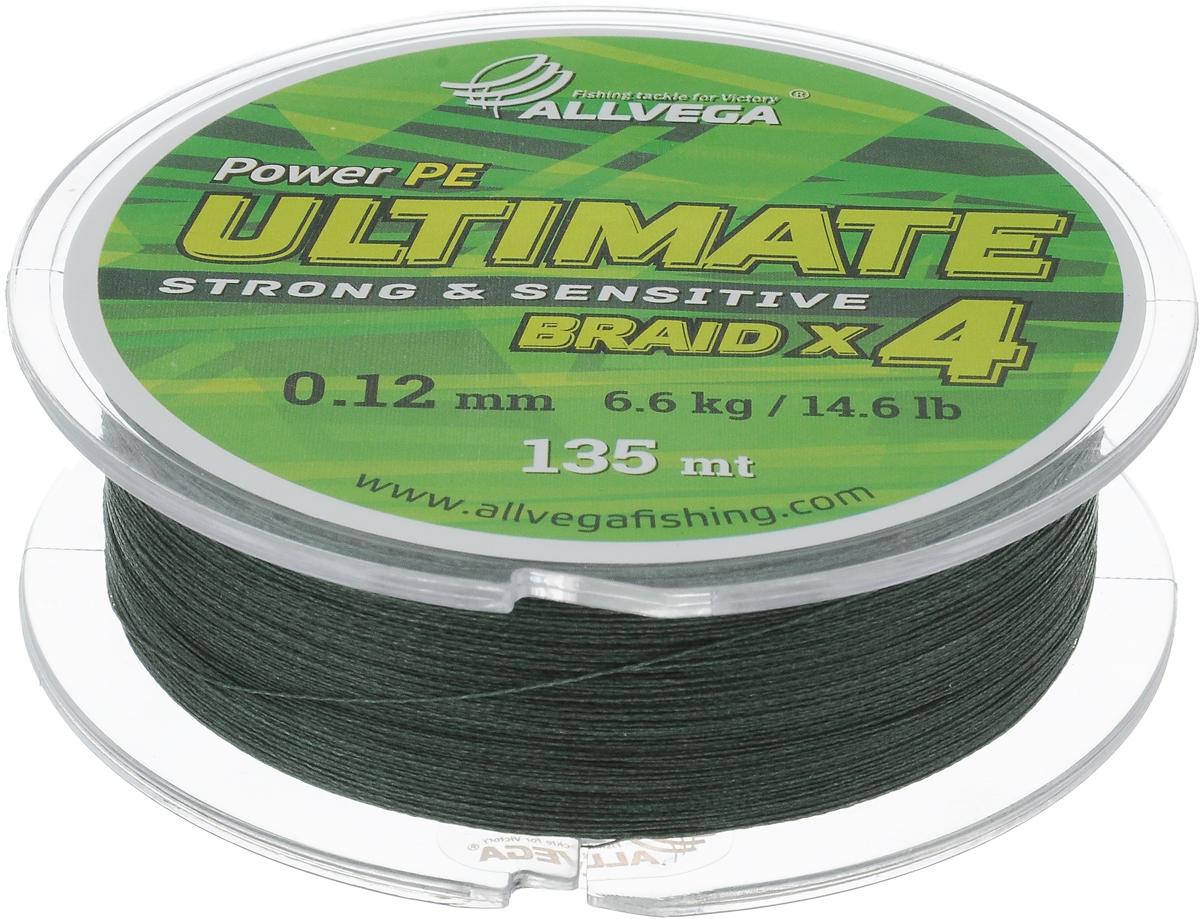 """Леска плетеная Allvega """"Ultimate"""", цвет: темно-зеленый, 135 м, 0,12 мм, 6,6 кг 59271"""