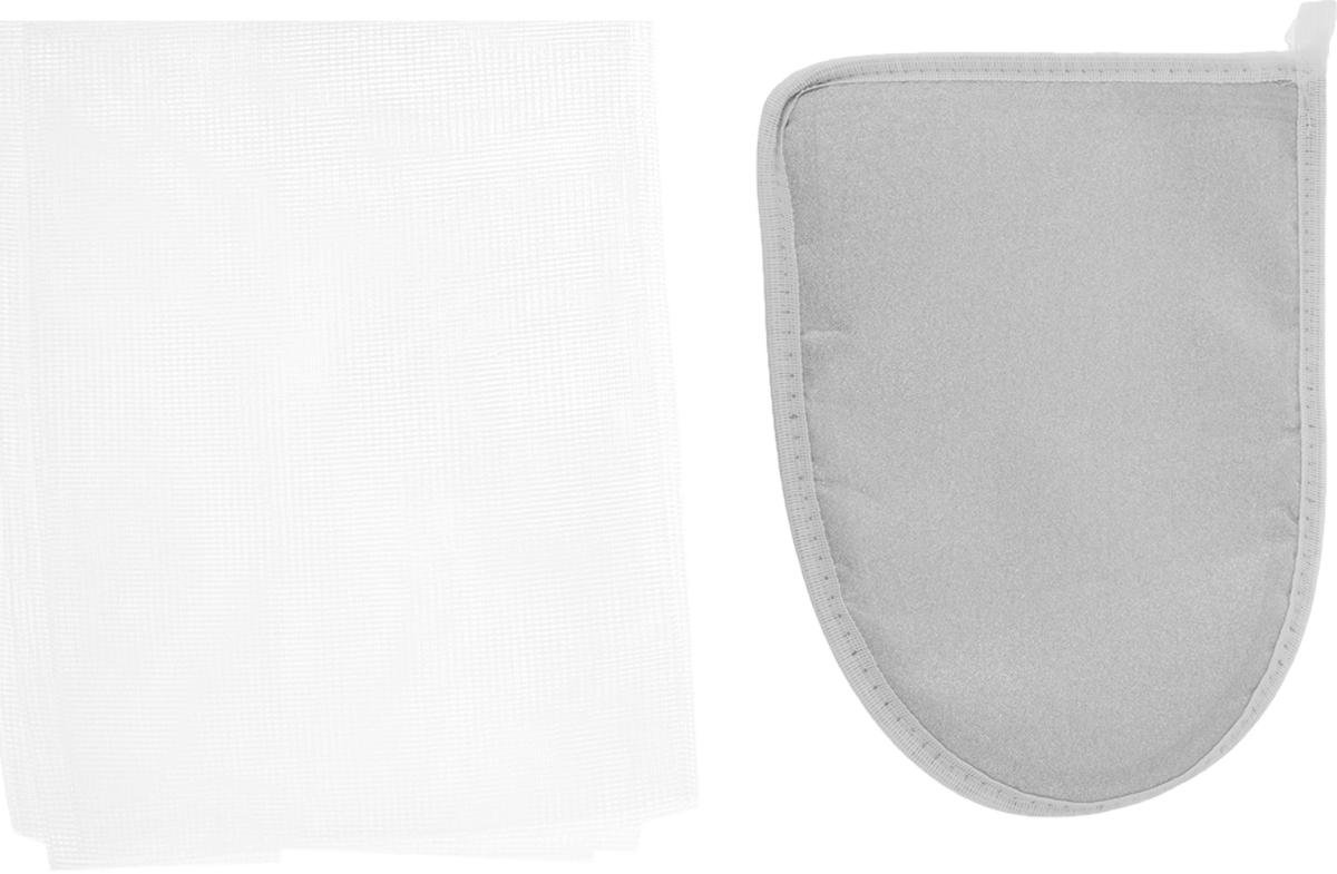 Набор для глажения Eva, цвет: белый, серебристый, 2 предметаЕ381_сереброНабор для глажения Eva состоит из варежки с тефлоном и сетки для глажения. Варежка поможет отутюжить ваши вещи в труднодоступных местах. При изготовлении варежки используется материал, не пропускающий тепло. Сетка для глажения защищает одежду от повреждений при утюжке, заменяет марлю, используется при режиме отпаривания, незаменима для оформления стрелок на брюках, препятствует образованию блестящих следов. Состав: хлопок с Al-напылением, хлопок, пенополиэтилен, полиэстер. Размер варежки: 15 х 21 см. Размер сетки: 40 х 75 см. Уважаемые клиенты! Обращаем ваше внимание на возможные изменения в расцветке материала на внутренней стороне варежки. Поставка осуществляется в зависимости от наличия на складе.