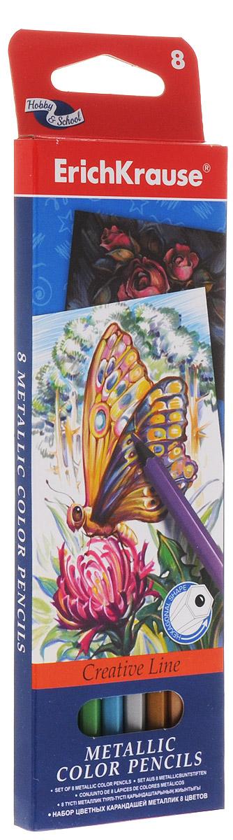 Erich Krause Набор цветных карандашей Metallic 8 цветов39425Набор цветных карандашей Erich Krause Metallic подойдет любому юному художнику. Карандаши легко и аккуратно затачиваются и имеют яркие насыщенные цвета. Мягкий грифель легко рисует на бумаге и не царапает ее. В наборе 8 цветных карандашей, изготовленных из натурального дерева, с диаметром грифеля 3 мм. Яркий и практичный набор Erich Krause Metallic с продуманной палитрой цветов непременно понравится вашему юному художнику. Не рекомендуется детям до 3-х лет.