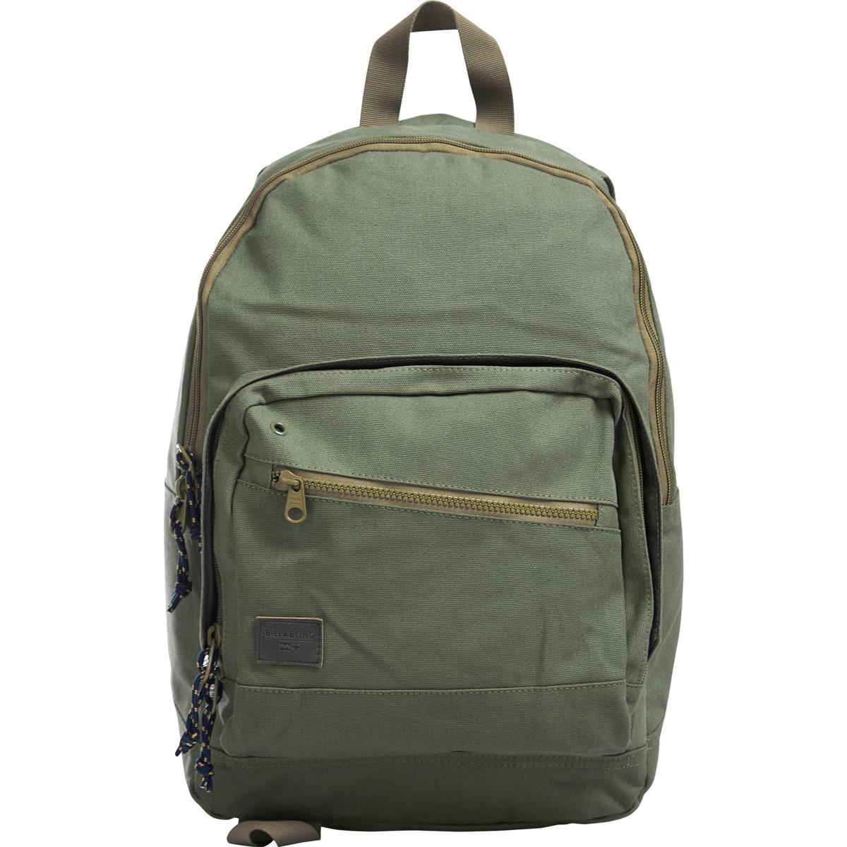 Рюкзак городской Billabong Laneway Canvas, цвет: оливковый, 23 л. Z5BP08Z5BP08Вместительный и практичный рюкзак из 100% хлопка. Два внеших внеших кармана для мелочей, в онсновном отделение кармана для ноутбука.
