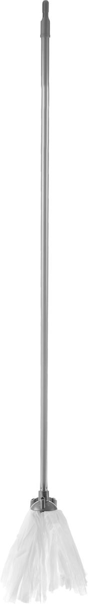 Швабра Home Queen, цвет: серый, белый, длина 119 см57186Швабра Home Queen, выполненная из полиэстера, вискозы, полипропилена и металла, идеально подходит для мытья всех типов напольных поверхностей: паркет, ламинат, линолеум, кафельная плитка. Материал насадки - полиэстер с вискозой обладает высокой износостойкостью, не царапает поверхности и отлично впитывает влагу. Насадку можно стирать вручную с мягким моющим средством без использования кондиционера и отбеливателя, при температуре 30°-40°С без кипячения. Длина ручки: 119 см. Длина насадки: 23 см.