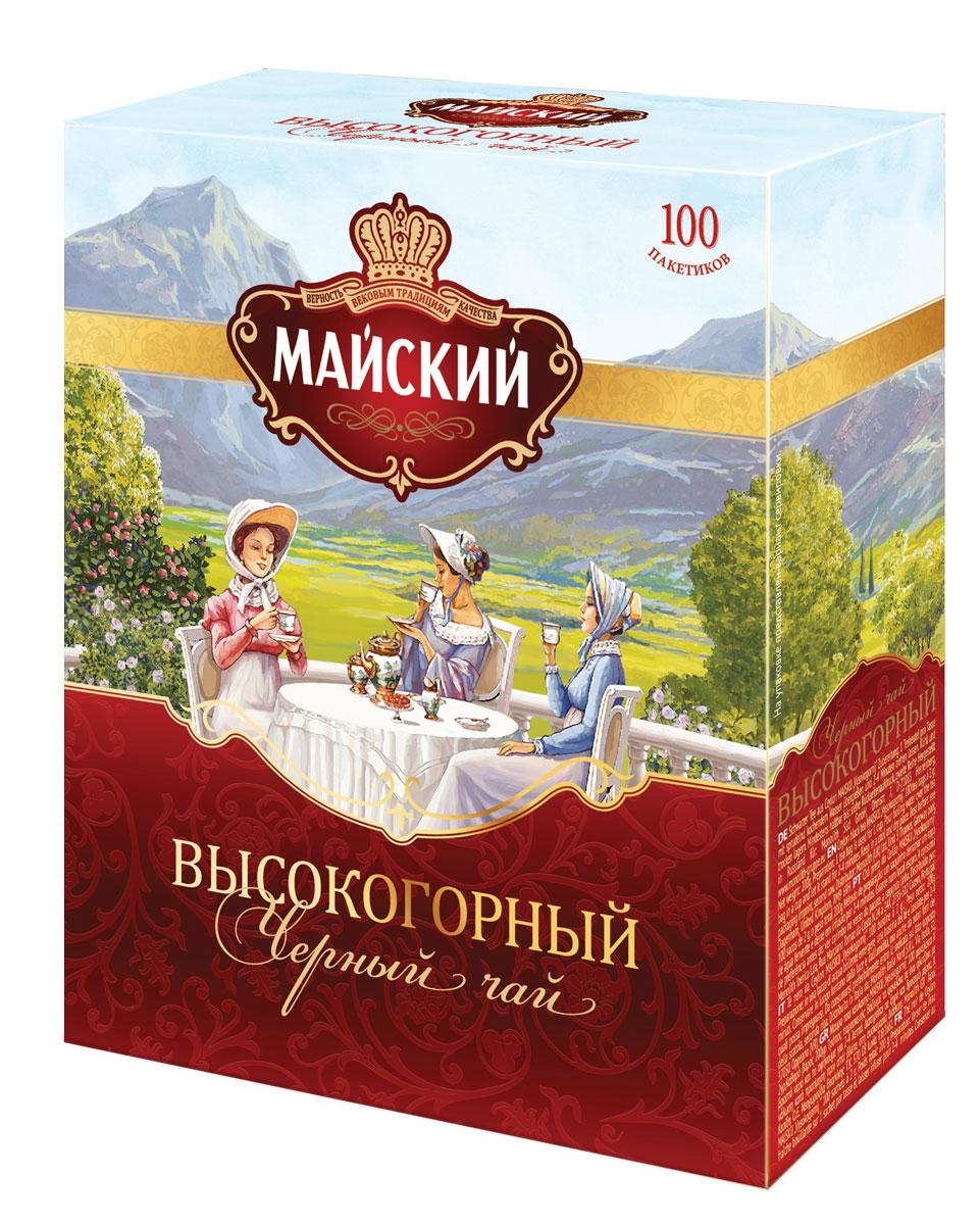 Майский Высокогорный черный чай в пакетиках, 100 шт4607051152717Майский дарит любителям классики чашку отличного высокогорного чая. Его выделяет изысканное сочетание терпкости и цветочного аромата, крепкий, но деликатный бархатный вкус.