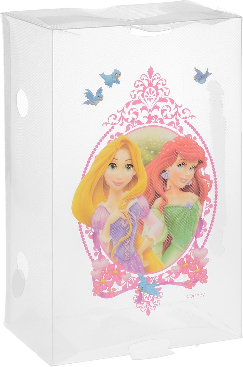 Коробка для хранения обуви Home Queen Принцессы, 30 х 18 х 10 см. 60327_прозрачный, розовый60327_прозрачный, розовыйКоробка Home Queen Принцессы изготовлена из высококачественного прозрачного полипропилена. Она специально предназначена для хранения обуви. Верхняя сторона коробки украшена изображением Рапунцель и Ариэль. Изделие легко собирается и не занимает много места. С помощью боковой крышки можно доставать обувь, не снимая коробку с полки. Коробка для хранения Home Queen Принцессы- идеальное решение для аккуратного хранения вашей обуви в межсезонье. Размер коробки (в собранном виде): 30 х 18 х 10 см.