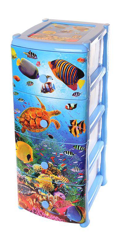 Комод Violet Океан, 4-х секционный, 40 х 48 х 95 см0352Универсальный комод с 4 выдвижными ящиками выполнен из экологически чистого пластика. Идеально подходит для хранения игрушек и других хозяйственных предметов. Достаточно вместительный, но в то же время компактный. Можно сократить количество ярусов по желанию. Поставляется в разобранном виде. Максимальная нагрузка на 1 ящик комода равна 12 кг.