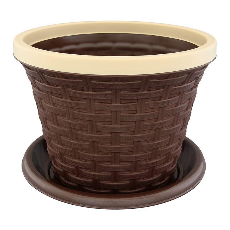 Кашпо Violet Ротанг, с дренажной системой, цвет: темно-коричневый, 4,8 л531-401Круглое кашпо Violet Ротанг изготовлено из высококачественного пластика и оснащено дренажной системой для быстрого отведения избытка воды при поливе. Изделие прекрасно подходит для выращивания растений и цветов в домашних условиях. Объем: 4,8 л.