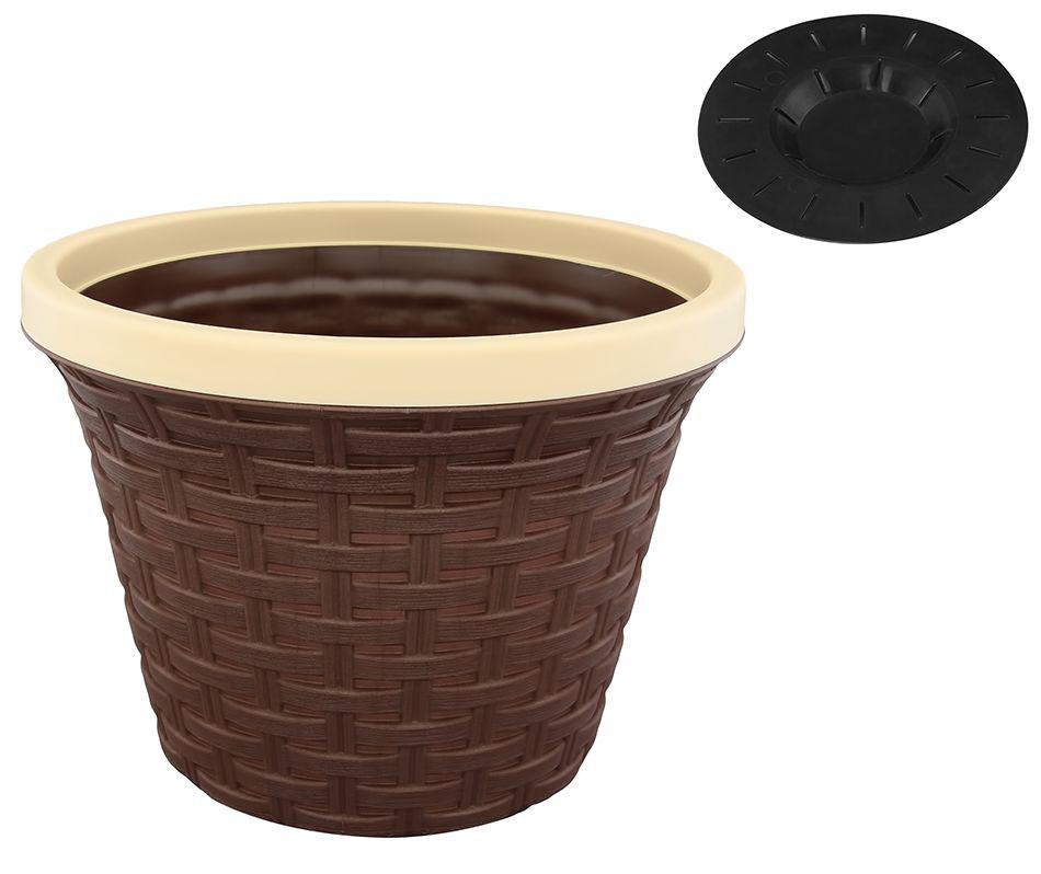 Кашпо Violet Ротанг, с дренажной системой, цвет: темно-коричневый, 8,8 л32880/1Круглое кашпо Violet Ротанг изготовлено из высококачественного пластика и оснащено дренажной системой для быстрого отведения избытка воды при поливе. Изделие прекрасно подходит для выращивания растений и цветов в домашних условиях. Объем: 8,8 л.