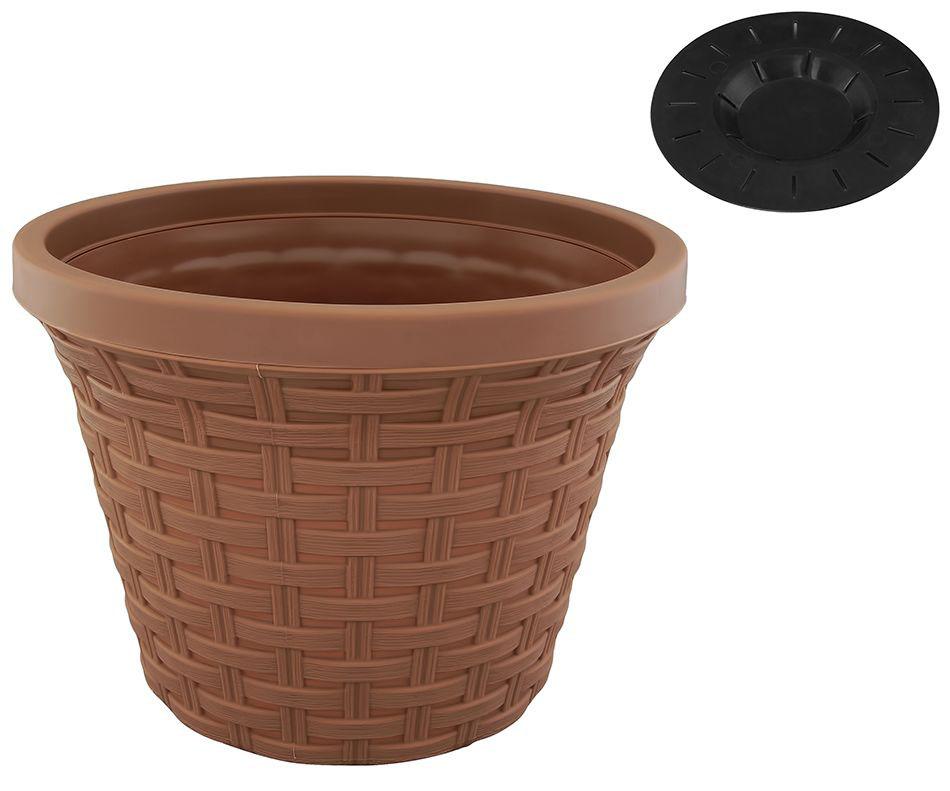 Кашпо Violet Ротанг, с дренажной системой, цвет: какао, 1,1 л32110/17Круглое кашпо Violet Ротанг изготовлено из высококачественного пластика и оснащено дренажной системой для быстрого отведения избытка воды при поливе. Изделие прекрасно подходит для выращивания растений и цветов в домашних условиях. Объем: 1,1 л.