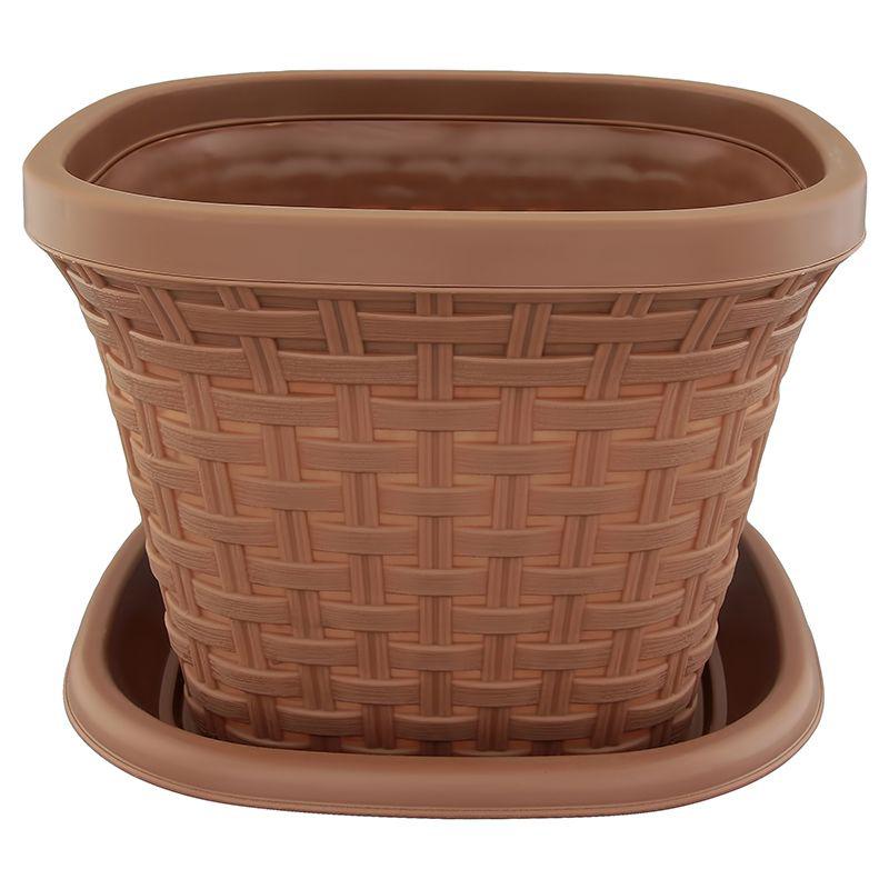 Кашпо квадратное Violet Ротанг, с поддоном, цвет: какао, 3,8 л531-105Квадратное кашпо, выполненное из пластика, прекрасно подойдет для выращивания трав и цветов. Имитирующее плетение из ротанга кашпо имеет поддон.Объём кашпо: 3,8 л.