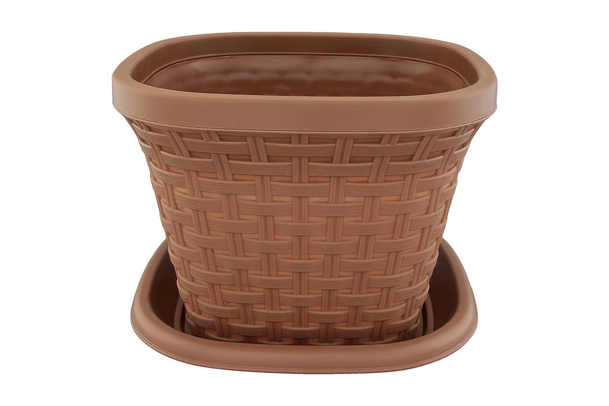 Кашпо квадратное Violet Ротанг, с поддоном, цвет: какао, 7,5 л531-106Квадратное кашпо, выполненное из пластика, прекрасно подойдет для выращивания трав и цветов. Имитирующее плетение из ротанга кашпо имеет поддон.Объём кашпо: 7,5 л.