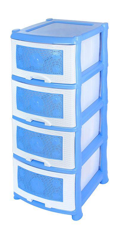 Комод Violet Ромашка, 4-х секционный, цвет: голубой, 40 х 46 х 94 смLA0704РРГЛ_голубойУниверсальный комод с 4 выдвижными ящиками выполнен из экологически чистого пластика. Идеально подходит для хранения игрушек и других хозяйственных предметов. Достаточно вместительный, но в то же время компактный. Можно сократить количество ярусов по желанию.Поставляется в разобранном виде. Максимальная нагрузка на 1 ящик комода равна 12 кг.
