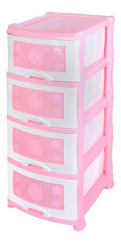 Комод Violet Ромашка, 4-х секционный, цвет: розовый, 40 х 46 х 94 см0354Универсальный комод с 4 выдвижными ящиками выполнен из экологически чистого пластика. Идеально подходит для хранения игрушек и других хозяйственных предметов. Достаточно вместительный, но в то же время компактный. Можно сократить количество ярусов по желанию. Поставляется в разобранном виде. Максимальная нагрузка на 1 ящик комода равна 12 кг.