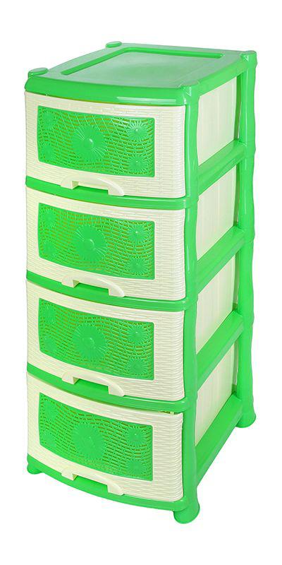 Комод Violet Ромашка, 4-х секционный, цвет: зеленый, 40 х 46 х 94 см0354Универсальный комод с 4 выдвижными ящиками выполнен из экологически чистого пластика. Идеально подходит для хранения игрушек и других хозяйственных предметов. Достаточно вместительный, но в то же время компактный. Можно сократить количество ярусов по желанию. Поставляется в разобранном виде. Максимальная нагрузка на 1 ящик комода равна 12 кг.