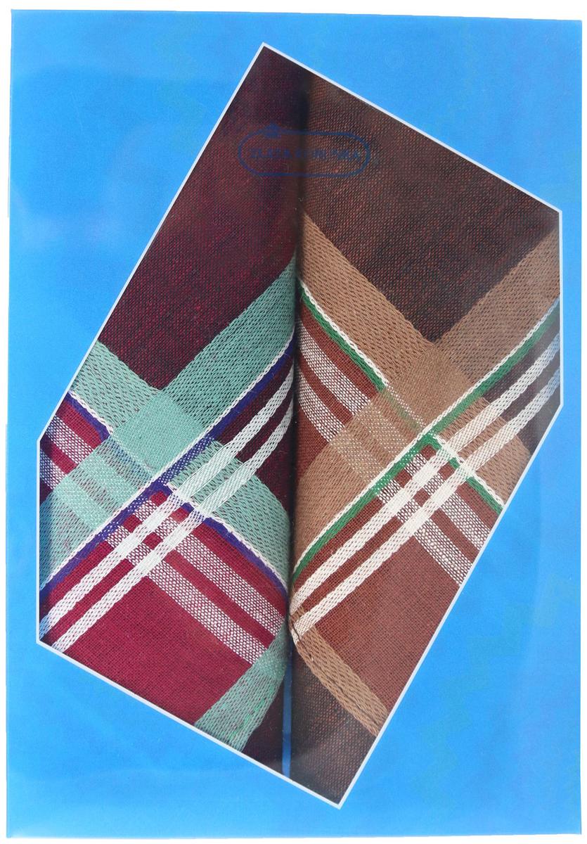 Платок носовой мужской Zlata Korunka, цвет: бордовый, коричневый, 2 шт. 40213-19. Размер 38 см х 38 см40213-19Оригинальный мужской носовой платок Zlata Korunka изготовлен из высококачественного натурального хлопка, благодаря чему приятен в использовании, хорошо стирается, не садится и отлично впитывает влагу. Практичный и изящный носовой платок будет незаменим в повседневной жизни любого современного человека. Такой платок послужит стильным аксессуаром и подчеркнет ваше превосходное чувство вкуса. В комплекте 2 платка.